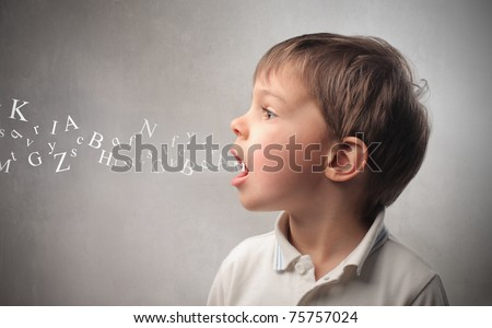Child speaking and alphabet letters coming out of his mouth - stock photo