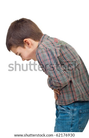 Child standing in profile  having a severe stomach ache and screaming isolated on white background - stock photo