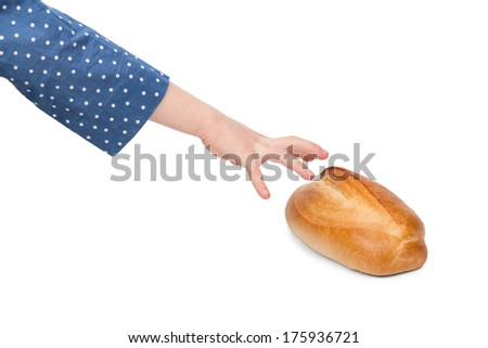 Child stretching hand to grab a bun isolated on white background - stock photo