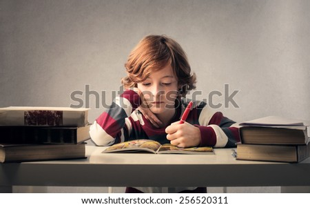 Child studying hard