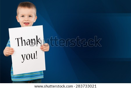 Child, Thank You, Cheerful. - stock photo