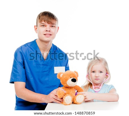 child to the doctor in blue robe