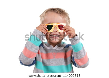 Child wearing 3d glasses isolated on white