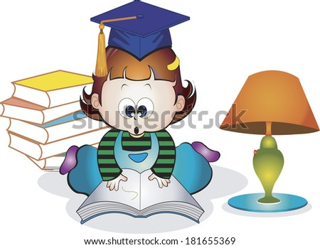 Child wearing graduation cap reading book