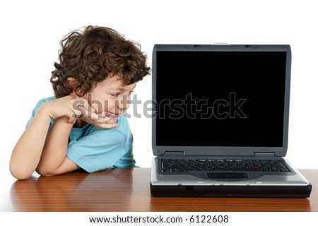 Child whit laptop a over white background - stock photo