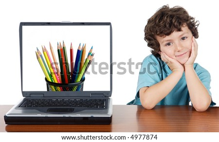 Child whit laptop a over white background whit text (back to school) - stock photo