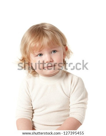 Child. White background. Clipping Path. - stock photo