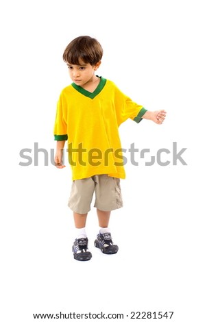 Child with a green yellow T-shirt . - stock photo