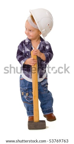 child with a hammer on a white background - stock photo