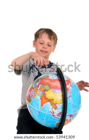 child with a large globe - stock photo