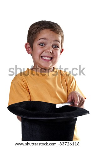 child with a magic wand on a white background - stock photo
