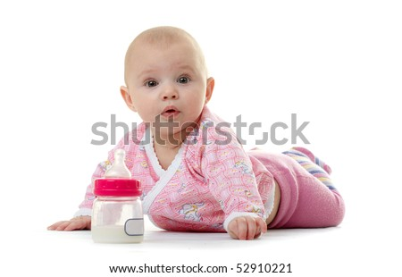 child with a pacifier isolated on white - stock photo