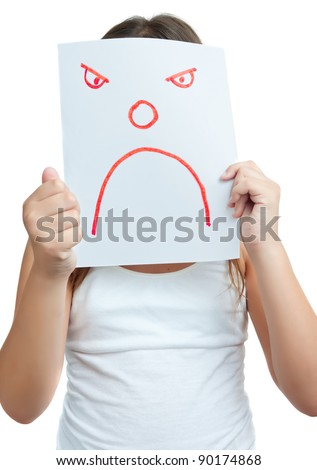 Child with a paper mask with an angry face isolated on white - stock photo