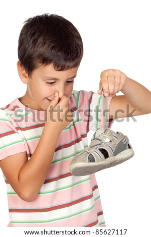 Child with a stuffy nose taking the sandal isolated on white background - stock photo