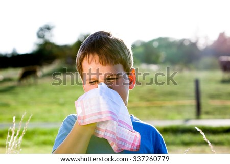 child with an allergy to pollen while you blow your nose with a white handkerchief in nature - stock photo