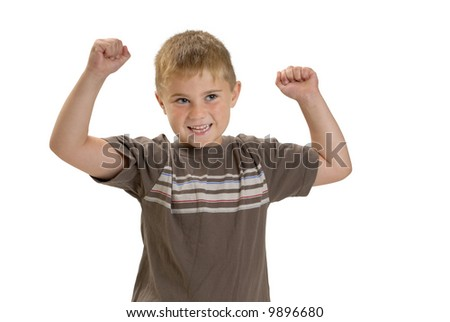 Child with arms in air, cheering or showing off muscles - stock photo