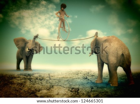 Child with bicycle on a rope - stock photo