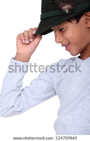Child with black cap - stock photo