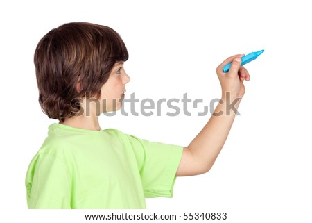Child with blue pen writing on a white background - stock photo