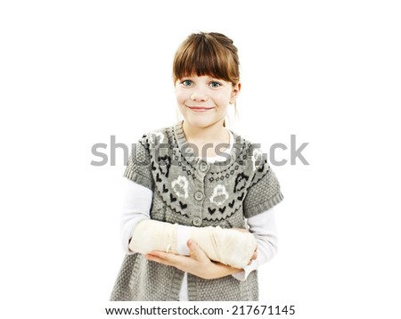 Child with broken arm. Isolated on white background - stock photo