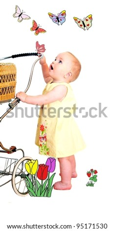 Child with Butterflies - stock photo