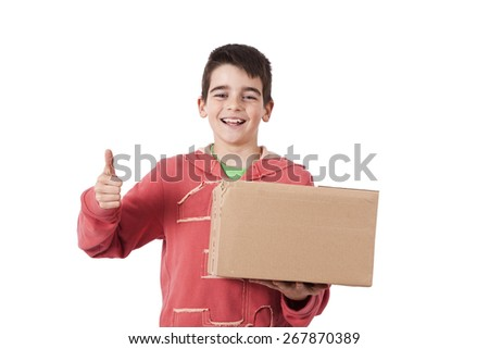 child with carton package isolated on white - stock photo