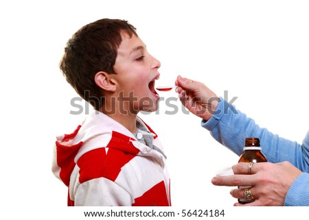 Child with Chickenpox getting medicine - stock photo