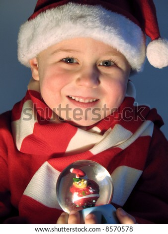 child with Christmas gift - stock photo