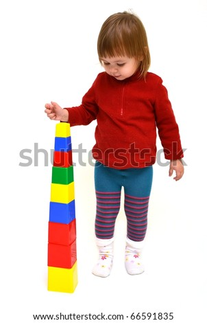 child with cubes - stock photo