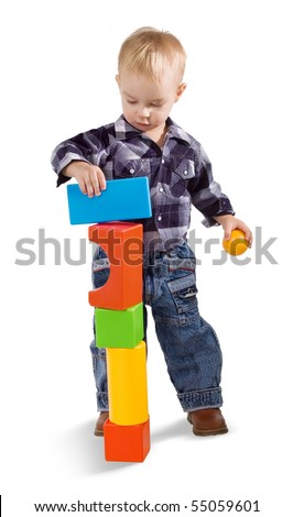 child with cubes on a white background - stock photo