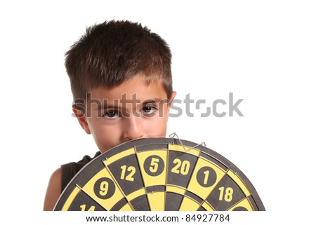 child with darts on white background - stock photo