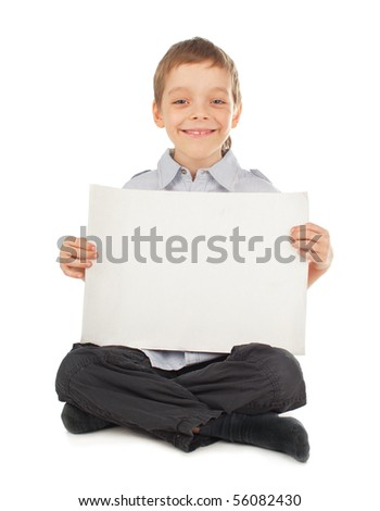 Child with empty blank isolated on white - stock photo