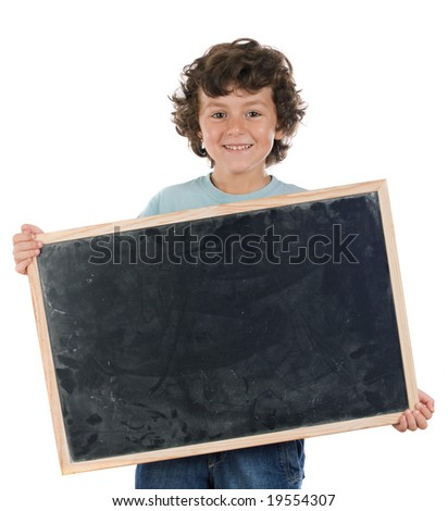 Child with empty slate to put words on a white background - stock photo
