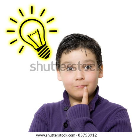 child with expression of an idea - stock photo