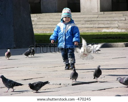 child with fly dove
