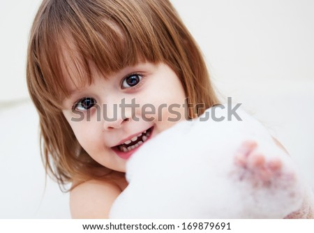 child with foam - stock photo