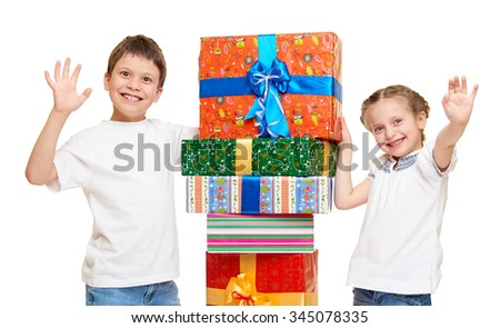 child with gift box - holiday object concept on white - stock photo