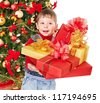Child with gift box near Christmas tree. Isolated. - stock photo