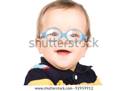 Child with glasses, close-up. Isolated on white. - stock photo