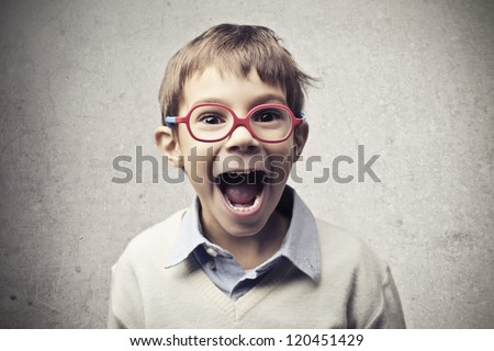 Child with glasses shouting - stock photo