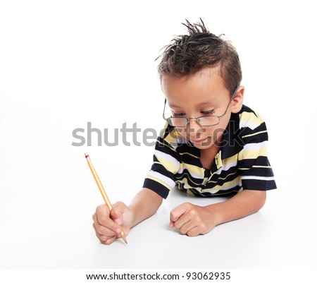 Child with glasses studying on white background, studio shoot