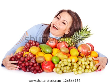 Child with group fruit and vegetable. Isolated.