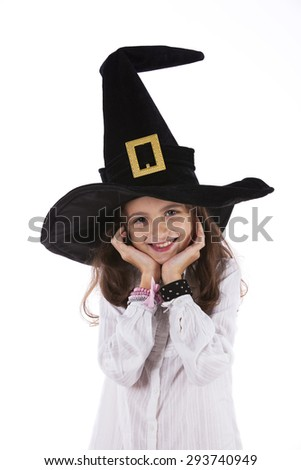 Child with halloween hat - stock photo