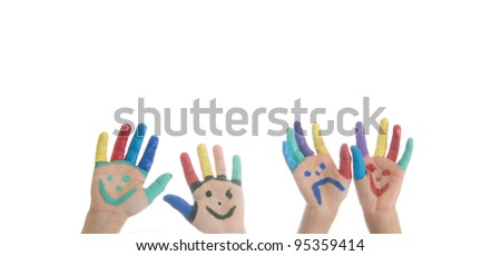 child with hand painting paint red black multicolor isolated - stock photo