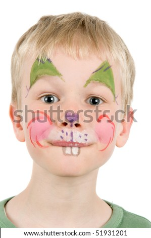 Child with his face painted as a rabbit. - stock photo