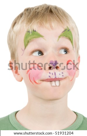 Child with his face painted as a rabbit.
