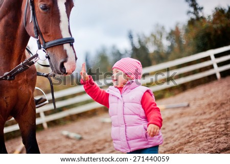 Child with horse in paddok - stock photo