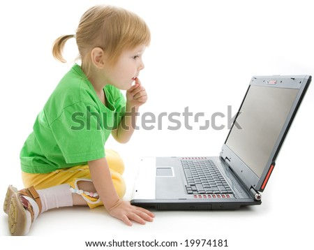 child with laptop hold finger on lips think on white background - stock photo