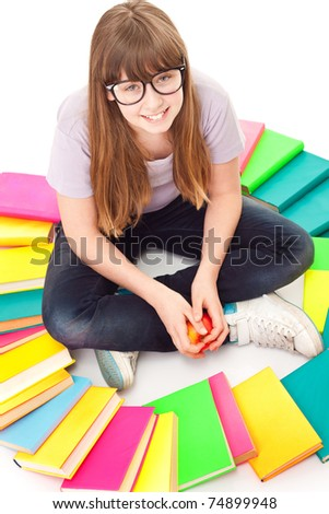 child with lot of books siting on floor, isolated on white - stock photo