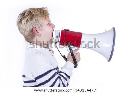 child with megaphone on white background - stock photo